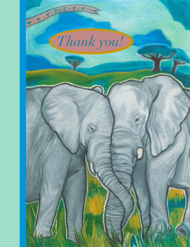 Elephant Love Art Elephant Love Thank You Card
